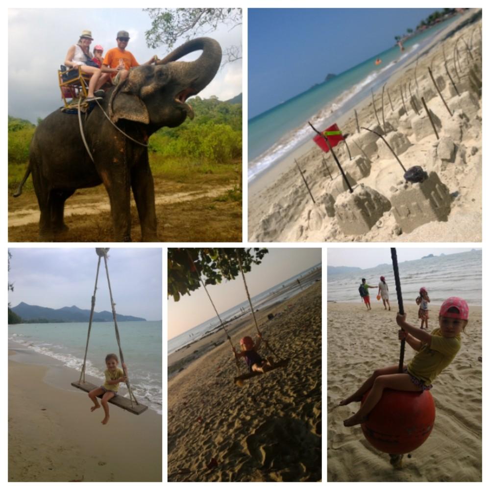 Keinumiselta ei voi Koh Changilla välttyä. Kiikkuja roikkuu lähes joka puussa. Elefanttiratsastus ja hiekkakakut kuuluvat niin ikään lomailuun saarella.
