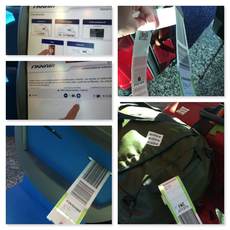 1. Tunnistaudu automaatilla passilla, lentoyhtiöviitteellä tai kanta-asiakaskortilla. 2. Valitse ruumaan menevien matkalaukkujen määrä (yleensä 1 sisältyy Finnairin lipun hintaan) 3. Tulosta matkatavaratunnisteet 4. Liimaa tunnistetarrat laukkuihin huolellisesti 5. Liimaa pienet varaviivakoodit toiseen kohtaan laukussasi (näiden avulla laukkusi tunnistetaan jos varsinainen tarra irtoaisi).