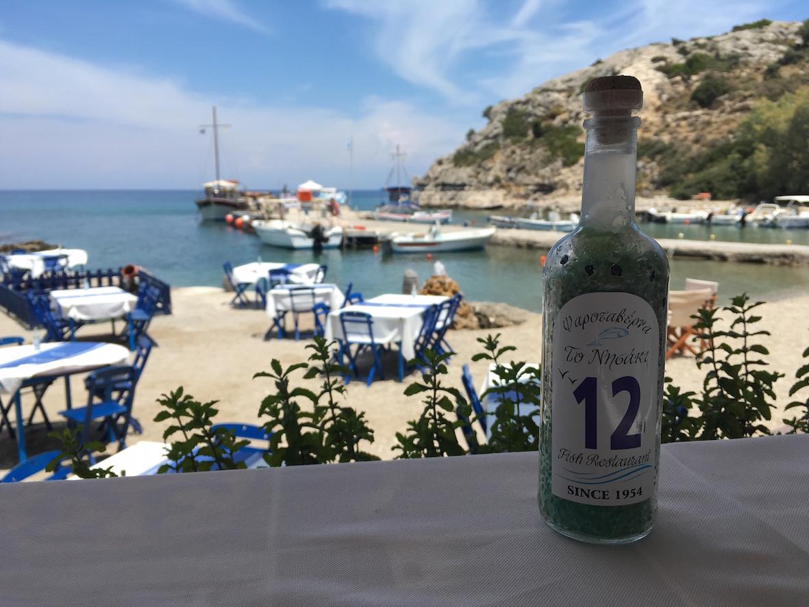 Nissaki rantaravintoilan tunnelma ja maisema oli täydellinen - juuri se Kreikka, jonne haluan palata.